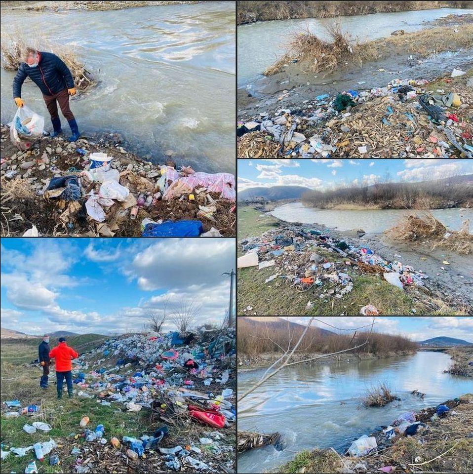 Dezastru ecologic și pe râul Bistrița Ardeleană. Prefectul a văzut cum mormanele de gunoi poluează râul