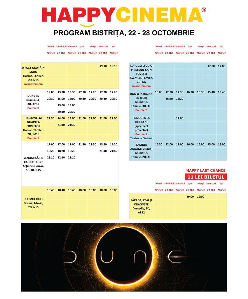 Programul filmelor la Happy Cinema Bistrița